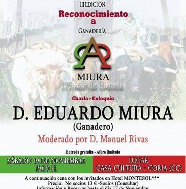 La Asociación Jóvenes Taurinos de Coria homenajeará al ganadero español Eduardo Miura