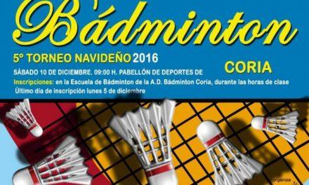 Coria dará comienzo este sábado a su programa deportivo de Navidad con el V Torneo de Bádminton
