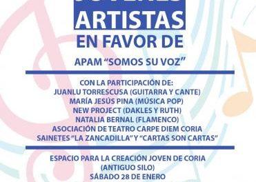 El Espacio para la Creación Joven de Coria acogerá este sábado un festival solidario a favor de APAM