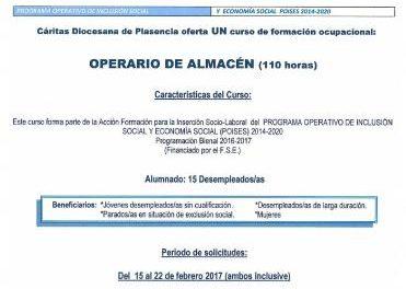 Cáritas de Plasencia llevará a cabo el curso de Formación Ocupacional de operario de almacén