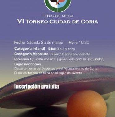 """La sexta edición del torneo de tenis de mesa """"Ciudad de Coria 2017"""" tendrá lugar el próximo día 25"""