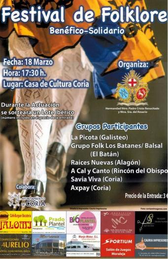 La casa de cultura de Coria acogerá este sábado el I Festival Folcrórico Benéfico a favor de AXPAY