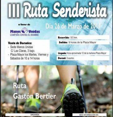 Plasencia acogerá este domingo la III ruta senderista Gastón Bertier a favor de Manos Unidas
