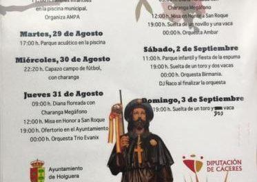Holguera dará comienzo este lunes a las fiestas en honor a San Roque que contarán con música y festejos taurinos