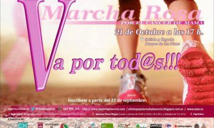 La delegación placentina de AOEX continúa vendiendo dorsales para la Marcha Rosa del próximo día 21