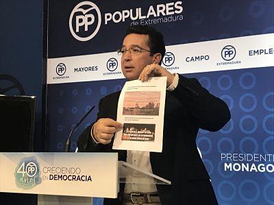 """El secretario general del PP de Extremadra critica la actitud """"sectaria y dictatorial"""" de Vara"""