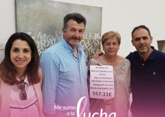 La familia Cayuela-Zanca dona la recaudación del Belén Solidario de 2017 a AOEX Coria