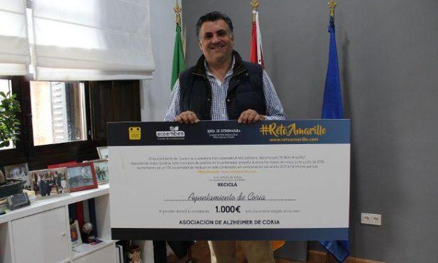 """Coria destinará los 1.000 euros del """"Reto Amarillo"""" a la Asociación de Alzheimer de la ciudad"""