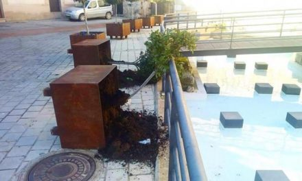 Los actos vandálicos afectan a la parte antigua de Coria con el derribo de maceteros en la Plaza de la Cava