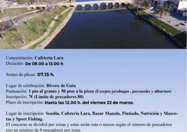 El domingo 24 de marzo se celebrará en la Rivera de Gata el Concurso de Pesca de la Liga Local