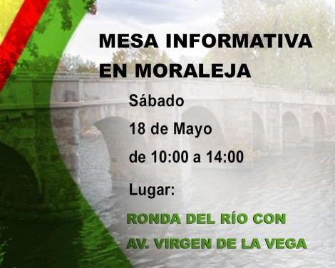 El partido político VOX celebrará una mesa informativa para trasladar sus propuestas en Moraleja