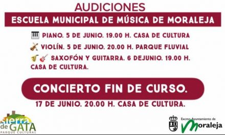Los alumnos de la escuela de música de Moraleja preparan sus audiciones que tendrán lugar a lo largo de la semana