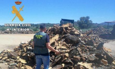 La Guardia Civil recupera un total de 1.000 kilos de chorcho robado en Sierra de Fuentes