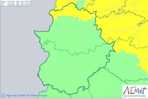 El norte de la provincia de Cáceres continúa este domingo en alerta amarilla por vientos