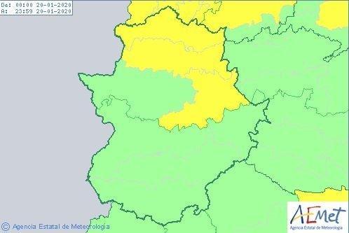La alerta amarilla por vientos continúa en el norte de la provincia de Cáceres