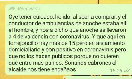 El alcalde de Torrejoncillo denuncia ante la Guardia Civil la difusión de mensajes falsos