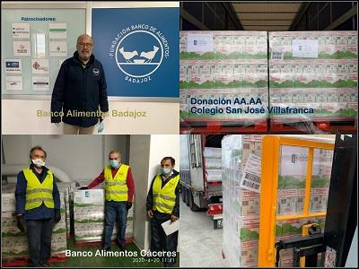 Antiguos alumnos de un colegio de Villafranca donan más de 50 toneladas de alimentos