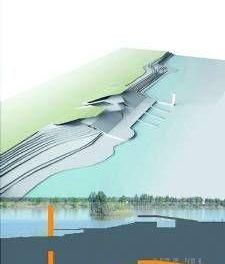El complejo fluvial previsto en Badajoz contempla un edificio en dos cotas integrado en el paisaje