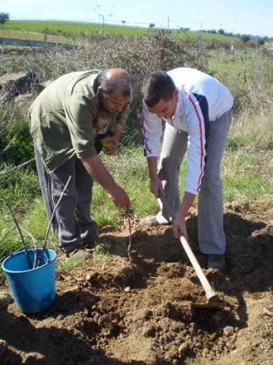 Ecologistas Granadilla y los escolares de Trasierra reforestan con especies autóctonas las sierras