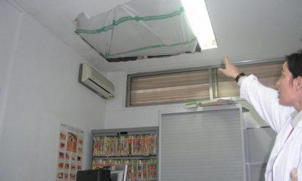 Una parte del techo de una sala de consultas del Centro de Salud de Coria se derrumba por la noche