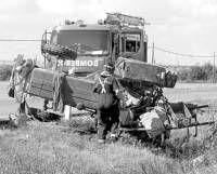 Una colisión entre un tractor y un camión causan un herido leve en Villanueva de la Serena