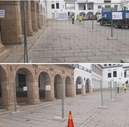 Navas del Madroño instala un vallado para que los mayores paseen sin peligro a pesar del brote de Covid