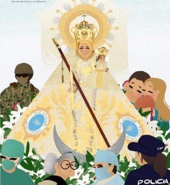"""""""La Morenita"""" vela por los que combaten el Covid-19 en un cartel de la  Cofradía de la patrona de Coria"""