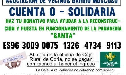 Vecinos de Moscoso recaudan dinero para paliar los efectos del incendio en la panadería Santa de Coria