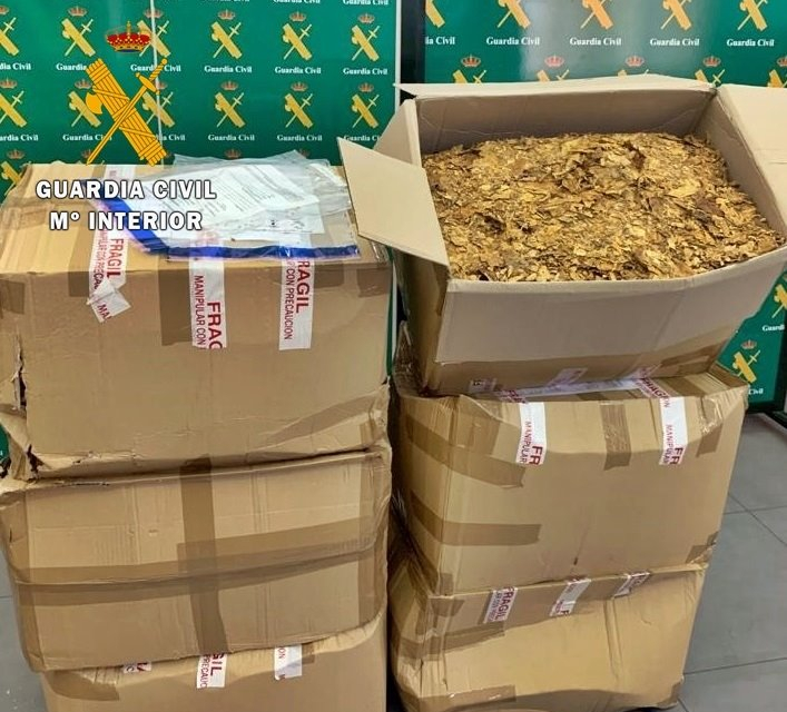 Intervenidos en Badajoz 102 kilos de tabaco destinado a fabricación casera y venta clandestina