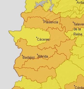 Toda Extremadura excepto la meseta accereña continúa en alerta naranja por altas temperaturas
