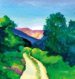 Una exposición de acuarelas de la artista Olga Serrano evoca los paisajes de la Vera y el Jerte