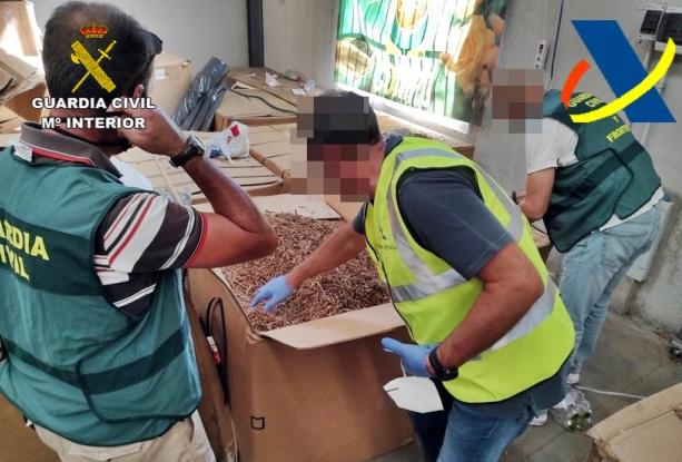 Detenidas cuatro personas por ocultar 53 toneladas de tabaco en una nave en Lobón
