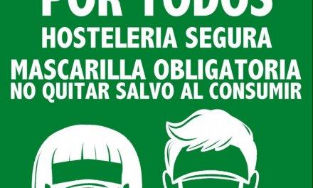 """Mérida insiste: """"Por Ti, Por Todos. Hostelería Segura. Mascarilla Obligatoria. No quitar salvo al consumir"""""""
