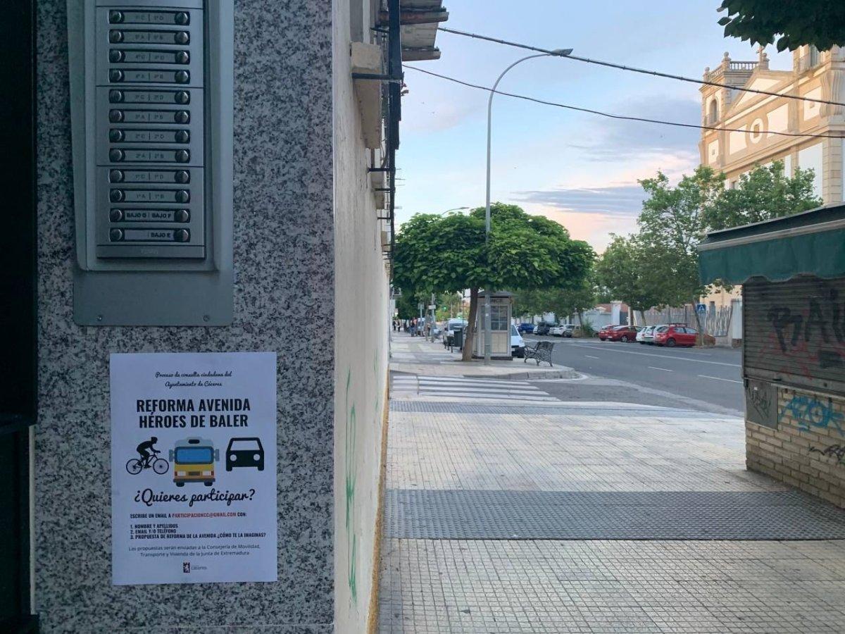 La Consejería de Movilidad prevé mejorar la avenida Héroes de Baler de Cáceres