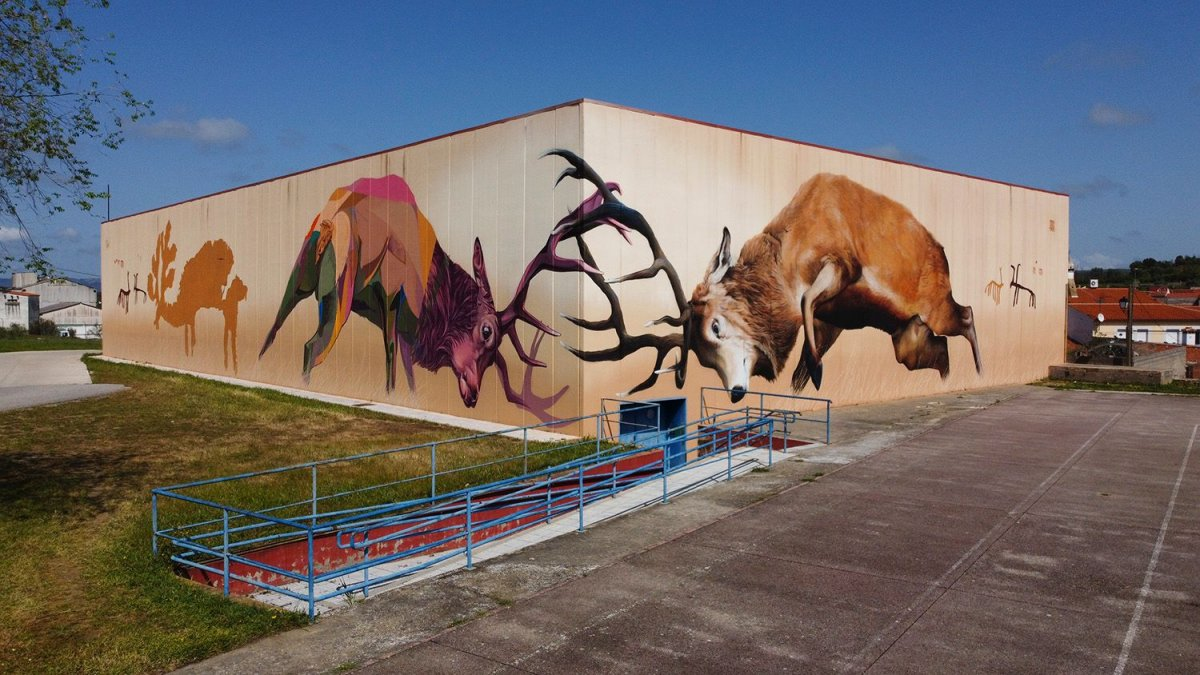 Las pinturas rupestres de Monfragüe forman parte de un nuevo mural artístico en Torrejón el Rubio