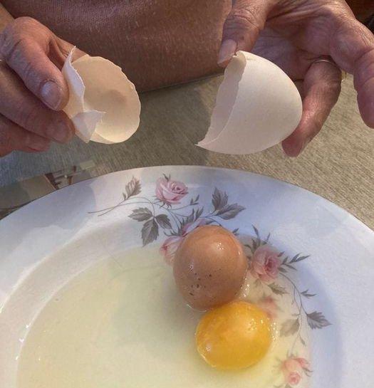 Una mujer de Moraleja encuentra un huevo de gallina dentro de otro
