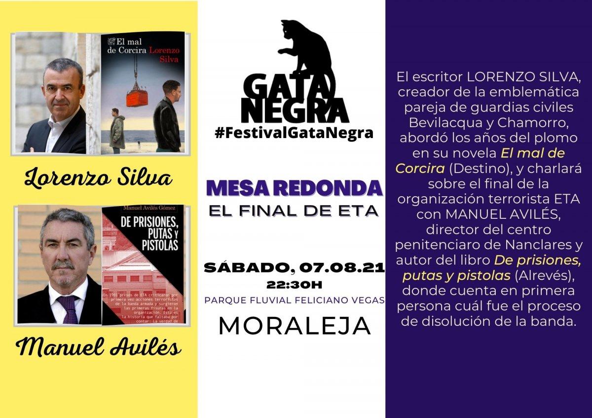 """Los escritores Lorenzo Silva y Manuel Avilés abordarán en el Festival """"Gata Negra"""" el final de ETA"""
