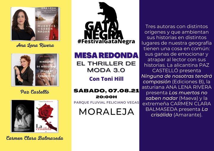 Tres conocidas escritoras debatirán el 7 de agosto en Moraleja sobre el thriller de moda