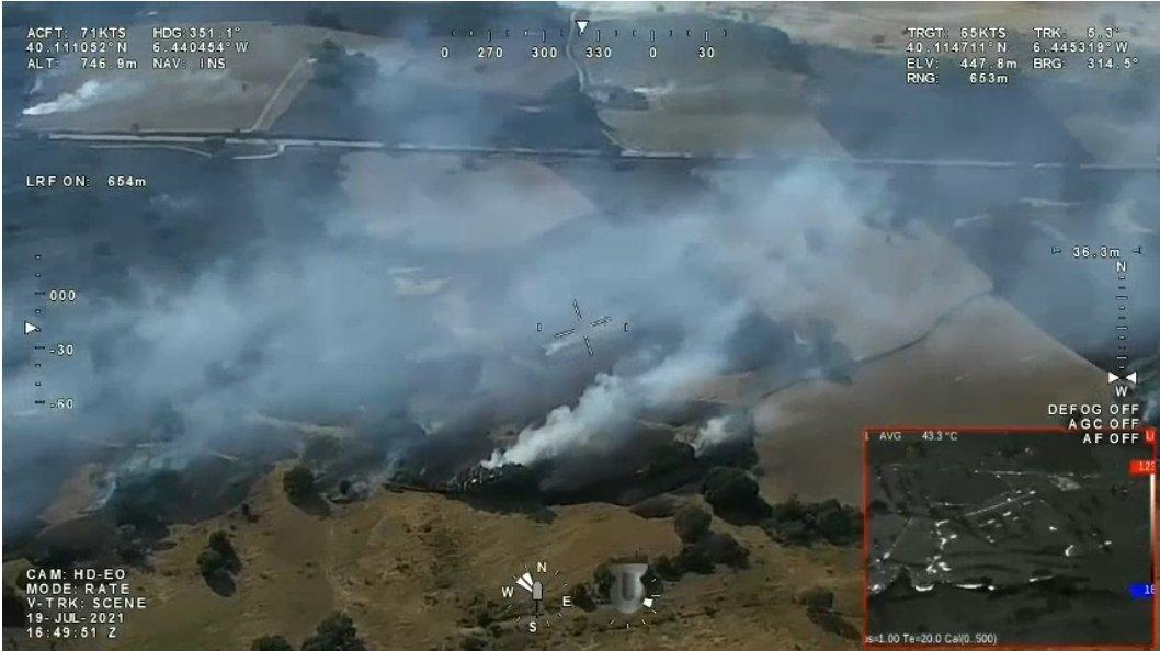 El Infoex consigue controlar el incendio de Calzadilla y desactiva el nivel 1 de peligrosidad