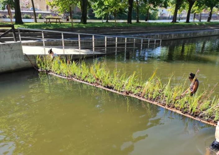 Moraleja instala una barrera de corcho en la piscina natural para mejorar la calidad del agua