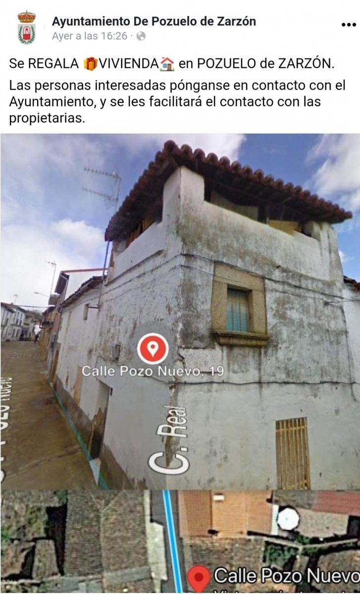 Una familia regala una vivienda ubicada en la localidad cacereña de Pozuelo de Zarzón