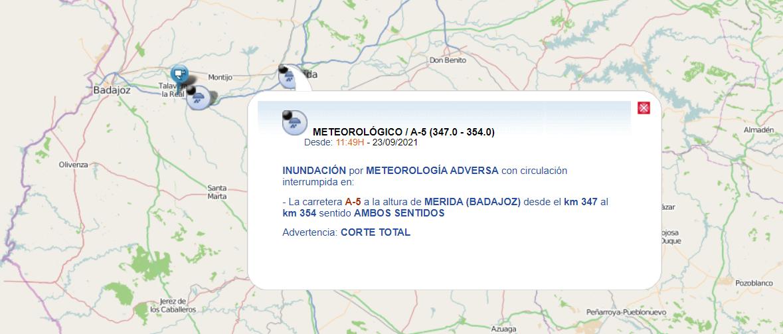El temporal obliga a cortar la A-5 a la altura de Mérida
